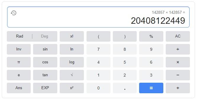 142857の二乗を電卓で計算