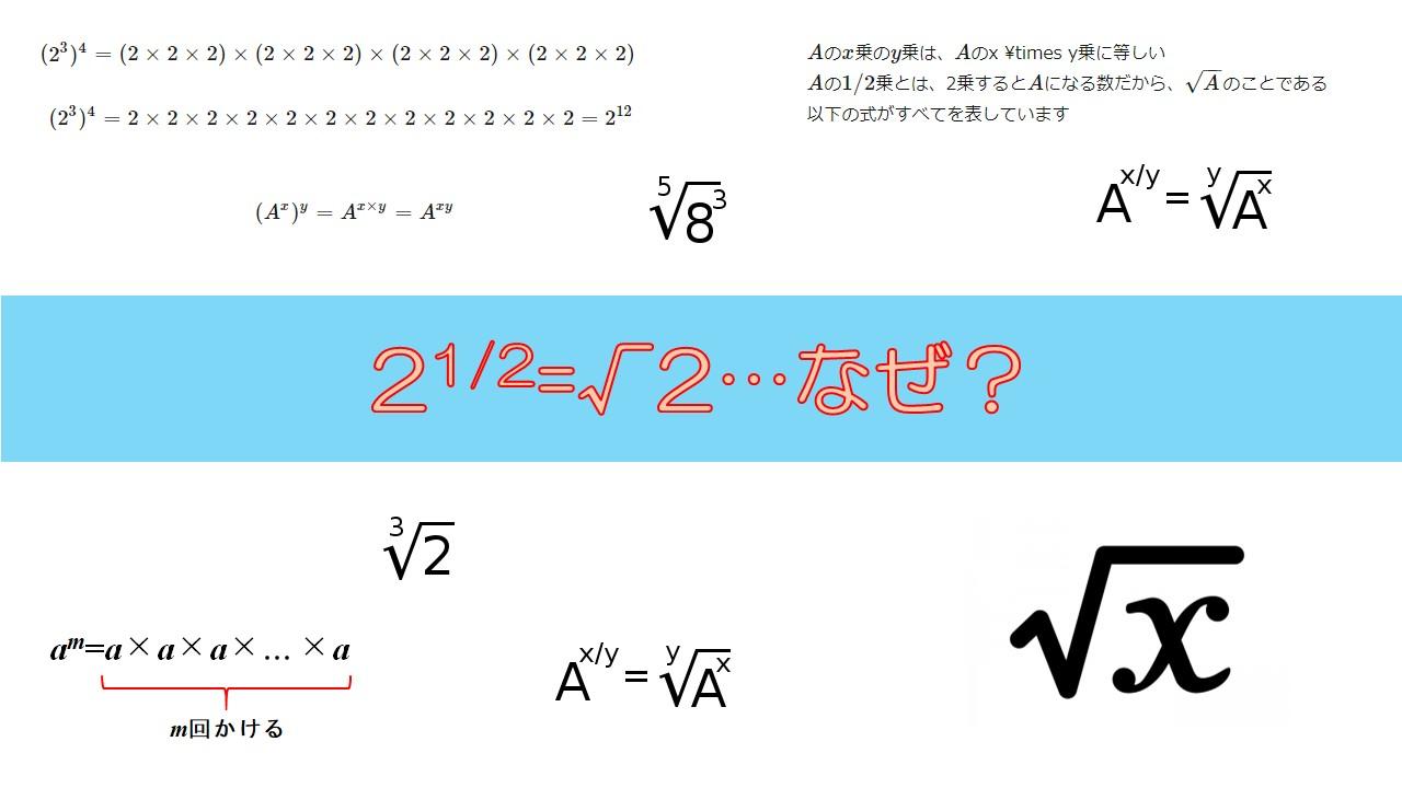12乗って何 どうしてそれがルート平方根になるのか
