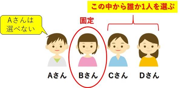 ABCDの四人_Bさんは固定であと一人どちらかを選ぶ