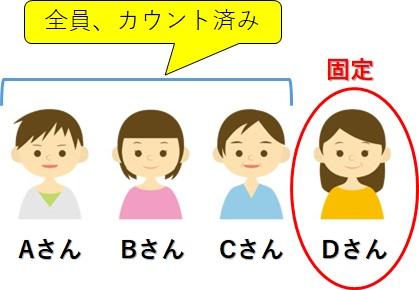 ABCDの四人_Dさんは固定であと一人を選ぶ