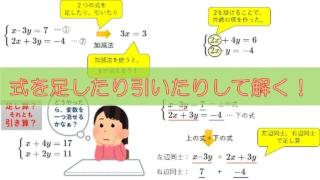 アイキャッチ_加減法を使った連立方程式の解き方